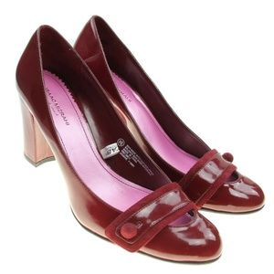 Isaac Mizrahi Red Leather Mary Jane Heels